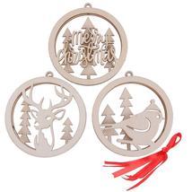 (as show)3/6pcs Wooden Christmas Pendants Computer Laser Hollow Motif Ca... - $20.00