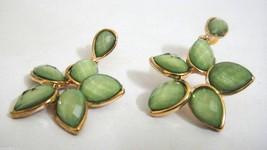 GREEN FLOWER OF EDEN - Earring Drop Dangle - Screw Push Back - Classy Fl... - $6.68