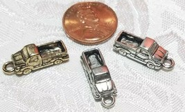 PICK UP TRUCK FINE PEWTER PENDANT CHARMS - 7mm L x 20mm W x 5.5mm D