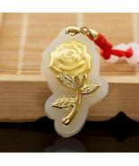 Fashion Elegant Rose Flower Jade Pendants For Women Top Quality Necklace - $58.58