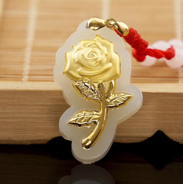 Free shipping fashion elegant rose flower jade pendants for women top quality necklace 319