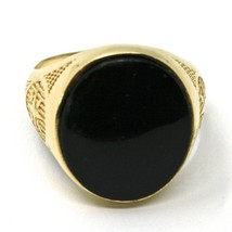 18K YELLOW GOLD BAND MAN RING, OVAL CABOCHON BLACK ONYX, COMPASS WIND ROSE image 2