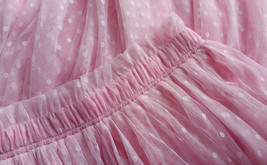 TAFFY PINK Full Tulle Skirt Bridesmaid Tulle Prom Skirt Dot High Waist US0-US28 image 5