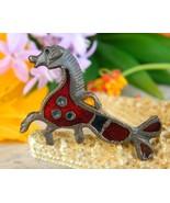 Roman British Hippocamp Seahorse Enamel Replica Brooch Pin Signed AR - $27.95