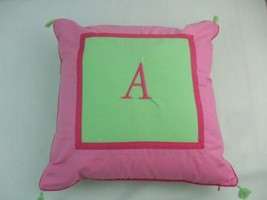 "Pottery Barn Fabric Toss Pillow Embroidered Letter A Pink Mint Green Zipper 16"" - $9.85"