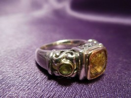 Sterling Silver Citrine Peridot Filigree Ring Size is 6 1/2 - $54.45