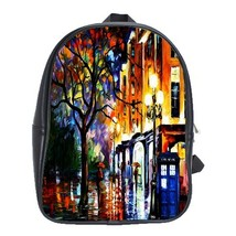 Backpack School Bag Doctor Who's Tardis Van Gogh Painting Animation Fant... - $33.00