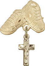14K Gold Filled Baby Badge with Crucifix Charm and Baby Boots Pin 1 X 5/8 inch - $90.83