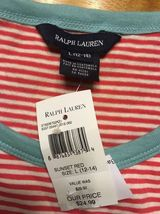 NWT Ralph Lauren Girl's Red Striped Blue Trim Pirate Shirt Size Large 12/14 image 5