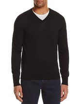 New $118 Bloomingdales Classic Black 100% Cotton V-NECK Sweater Size M - $14.84