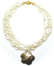 18K YELLOW GOLD 4 WIRES MULTI STRAND NECKLACE FLOWER MOTHER OF PEARL OVAL PEARLS image 2