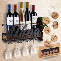 Wall Mounted Wine Rack, Bottle & Glass Holder, Come with 6 Cork Wine Charms - $35.90