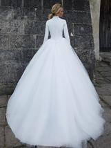 Designer High Neck Long Sleeve Winter Ball Gown Lace Tulle A-Line Princess Brida image 6