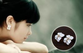 Women Cute Gardenia Flower Crystal Ear Studs Rhinestone Earrings Ear Hoo... - $6.50