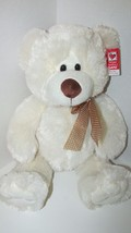Ganz Plush large cream stuffed teddy bear brown nose polka dot bow 13-18... - $26.72