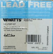 Watts Double Check Valve Assembly Lead Free Replaceable Seat 0063230 image 7