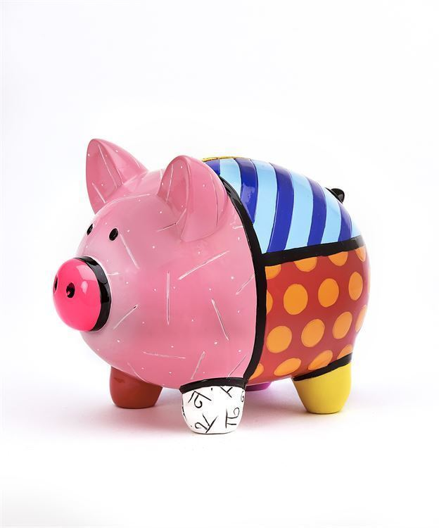 Romero Britto Pink Piggy Bank Polystone NEW