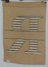 Kate Winston Brand Brown Burlap Monogram Black White R Garden Flag image 2