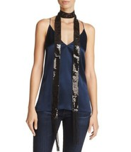 Aqua Sequin Long Skinny Scarf (One Size, Black) - $32.55