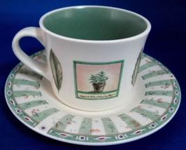 Cup And Saucer Pfatzgraff USA Naturewood Breakfast Size Stoneware Botanical  - $26.00