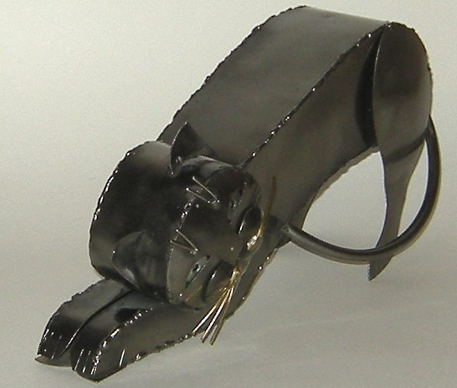 Mexico Hand Crafted Silver Color Metal Stretching Cat Sculpture New