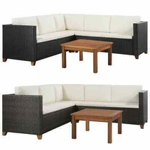 vidaXL Garden Sofa Set 15 Pieces Poly Rattan Wicker Outdoor Furniture 2 ... - $423.99+