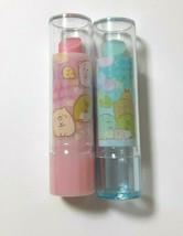 Sumikkogurashi Eraser Lip Type Case Cute Rare Light Blue Pink Girls Stat... - $12.19