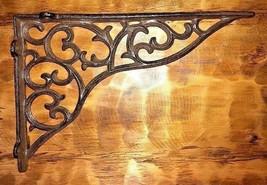 LARGE VICTORIAN VINE SHELF BRACKET BRACE Rustic Antique Brown Cast Iron ... - $16.82