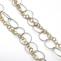 Necklace Silver 925,Double Chain Rolo ' ,White and Yellow,Oval Fringed,Hanging image 4