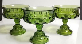 """Set of 3 Vtg Indiana Colony Green KING's Color CROWN 5 1/4"""" Round Open Compotes - $13.86"""