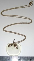 """Vintage 1970's Avon Frosted Glass Apple With 28"""" Goldtone Chain Necklace Estate - $19.99"""