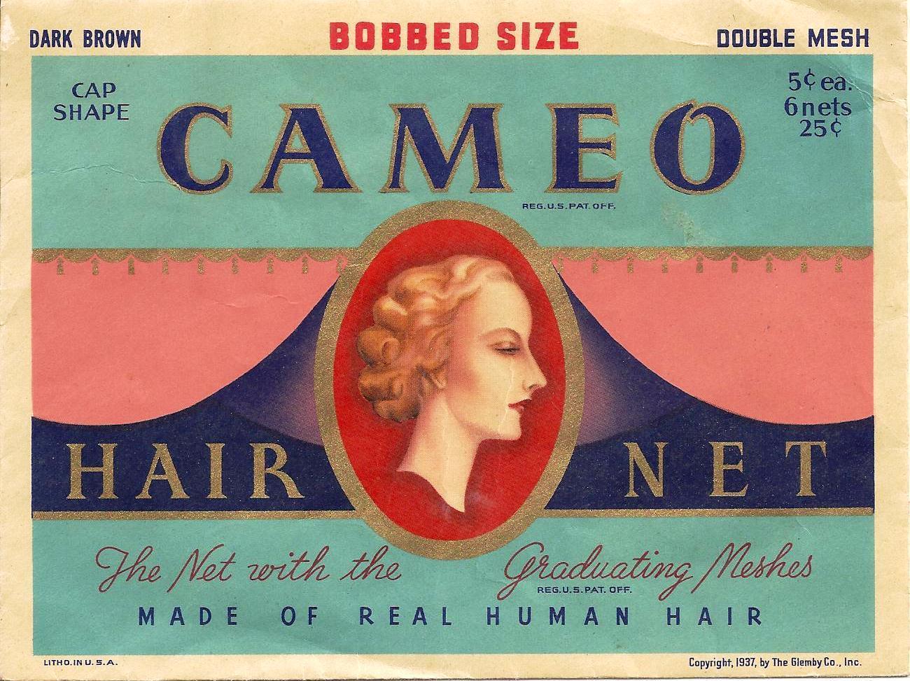 Pair Lot 1924 & 1937 Bobbed Hair Hair Net Envelopes  S.S. Kresge Co Vivid Color