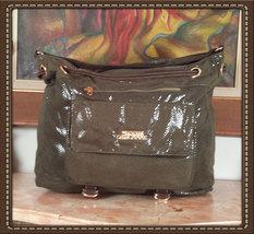 Python Style Patent Stylish Handbag Olive Green Very Soft - $69.00