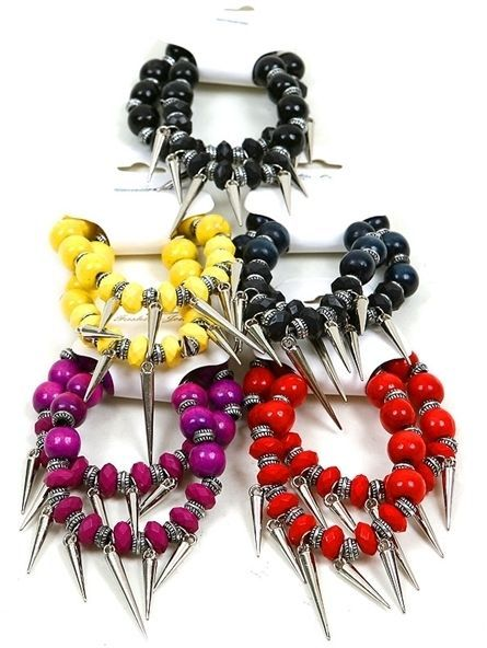 NEW Set of 2 Bead & Spike Charm Stretch Bracelets in Yellow, Dark Blue or Black