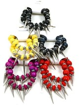 NEW Set of 2 Bead & Spike Charm Stretch Bracelets in Yellow, Dark Blue o... - $1.59