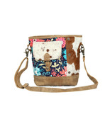 Aristocratic Cowhide & Colorful Flower Shoulder Bag-Purse with Hairon Co... - $46.95