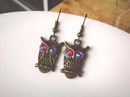 Antique Brass Owl Earrings Swarovski Crystal Earrings Dangle Earrings Ow... - $36.00