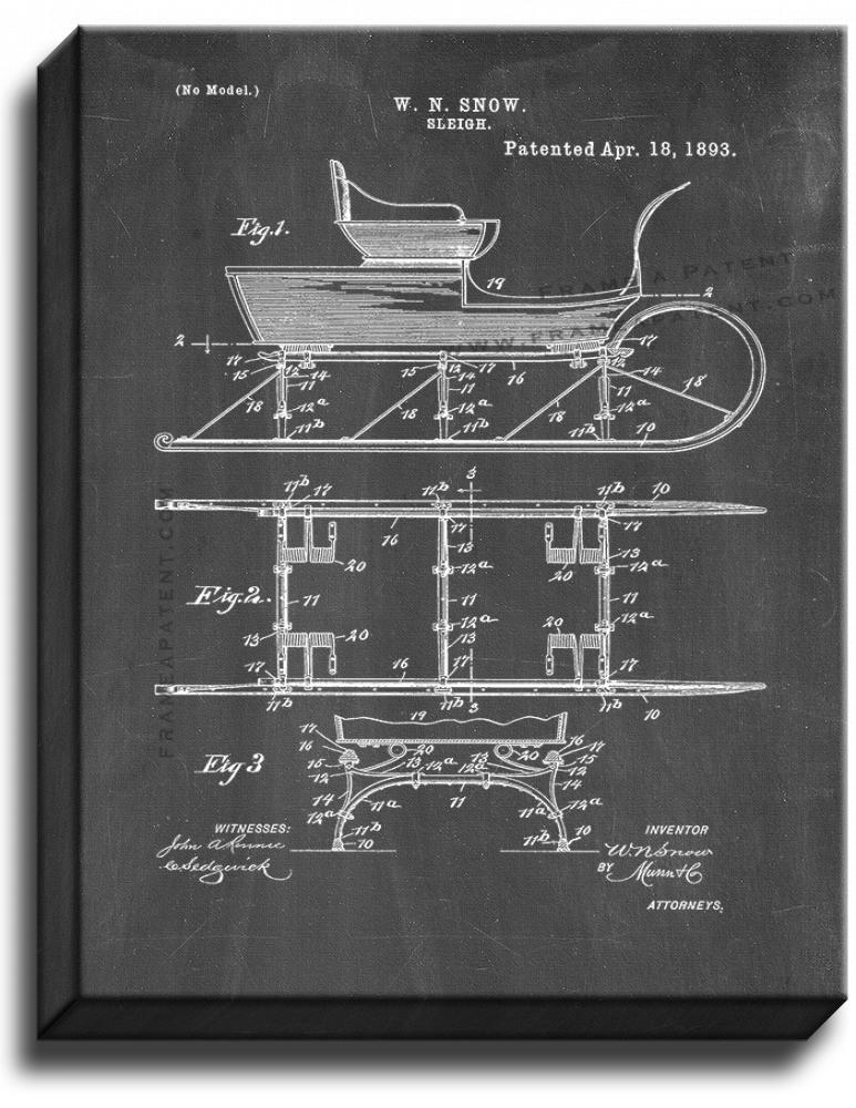 Primary image for Sleigh Patent Print Chalkboard on Canvas