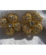 Flower Design Sterling Silver & GOLD CZ clip on Earrings Designer NEW - $50.63