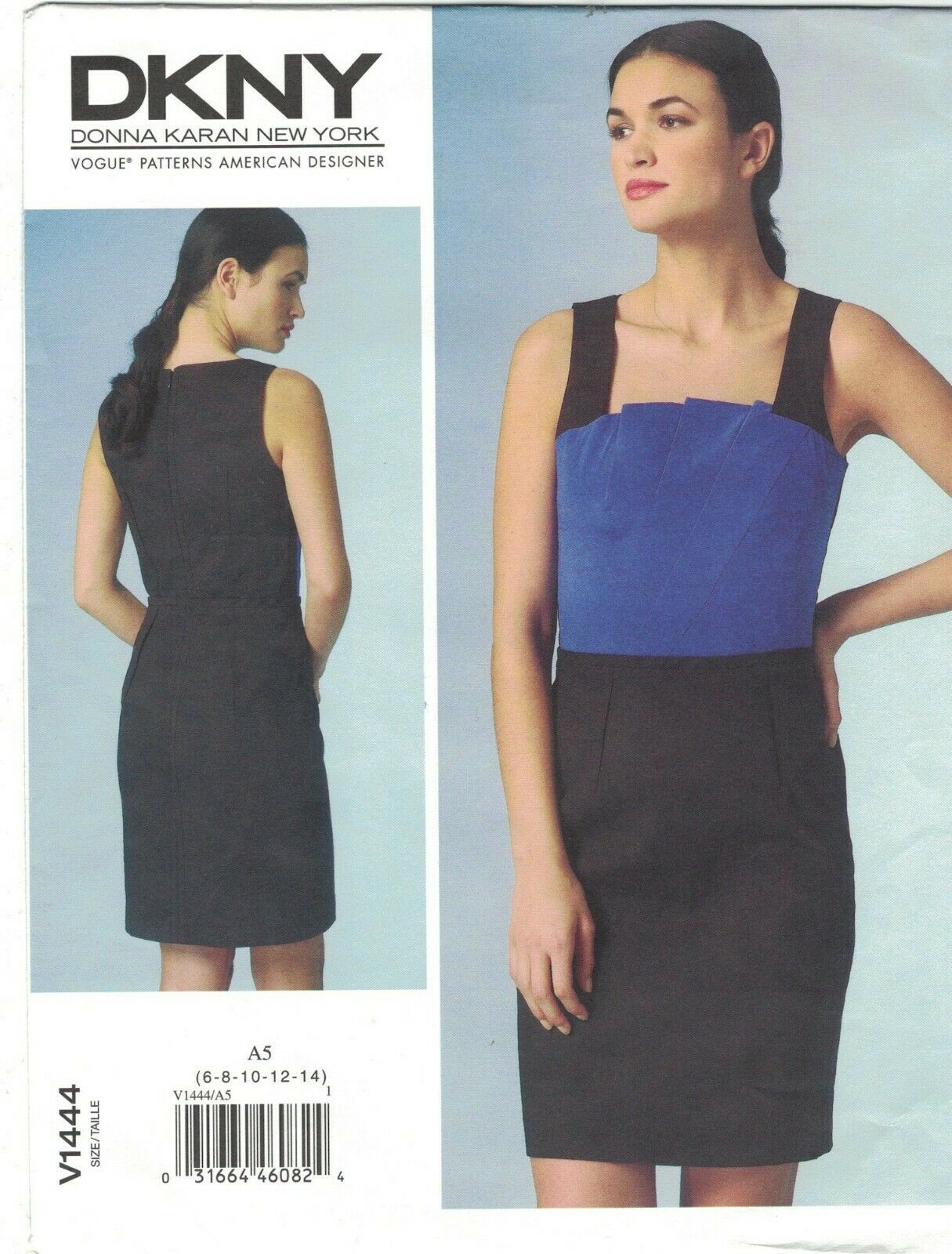 Primary image for Vogue 1444 DKNY Donna Karan Pleated Fan Front Dress Pattern Choose Size Uncut