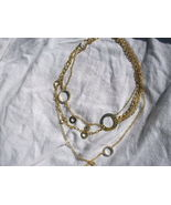 Sterling Silver Gold 18kt CZ 3 stand Necklace Designer retail approx. $2... - $79.88