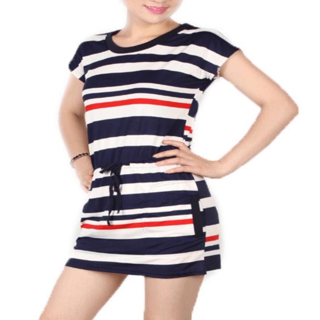 Y dress for less mini dress small navy blue fashion blue stripe cotton women dress 1395573915679