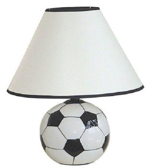 Ceramic Pottery Soccer Ball Table Desk Lamp Light w Shade Sports Fan Football 15 - $30.99