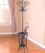 Modern Metal Coat Rack Coat Tree w Umbrella Stand Holder Matte Black Finish NEW - $81.95