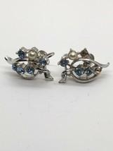 Vintage Beautiful Coro Faux Pearl Rhinestone Screwback Earrings - Missin... - $8.90