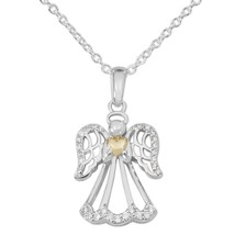 Women's Sterling Silver Clear Cubic Zirconia Angel Heart Pendant Necklac... - $87.61