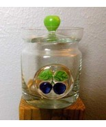 """Blue Berry Jelly Jar with Lid Clear Glass 4"""" Hand Made Glass - $15.00"""