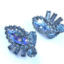 "Vtg Blue Rhinestone Clip On Earrings Silver Tone Aurora Borealis 1 1/8"" - $14.26"