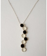 Black White Dot Enamel Pendant Unique Handcrafted Sterling Silver Necklace - $75.00