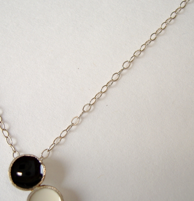 Black White Dot Enamel Pendant Unique Handcrafted Sterling Silver Necklace
